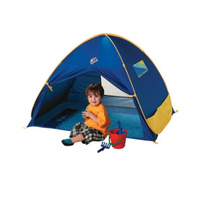 Rent by the day this pop-up kids beach tent for your Bermuda beach holiday from little longtails baby rental store